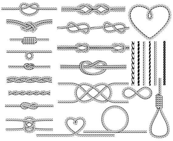 Rope, Nautical, Knot, Heart, Border, Sailor, Silhouette,SVG.