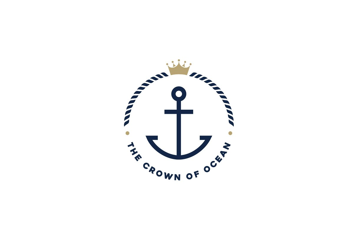 Anchor, Rope & Crown Nautical Logo.