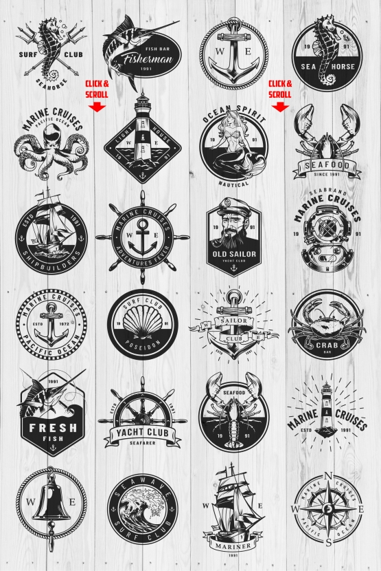 Nautical logo templates.