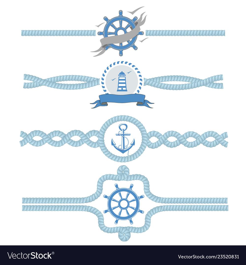 Nautical rope borders dividers vintage.