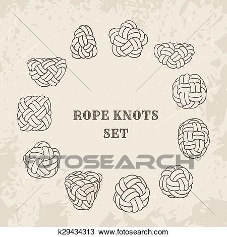 Nautical rope knots Clipart.