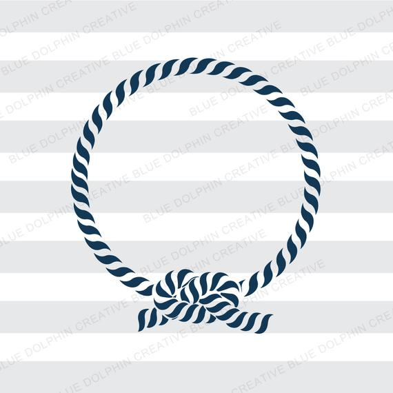 Nautical Rope Monogram Frame, SVG PNG PDF jpg jpeg ai dxf, Cricut,  Silhouette, cutting files, knot, instant download, vector clip art.