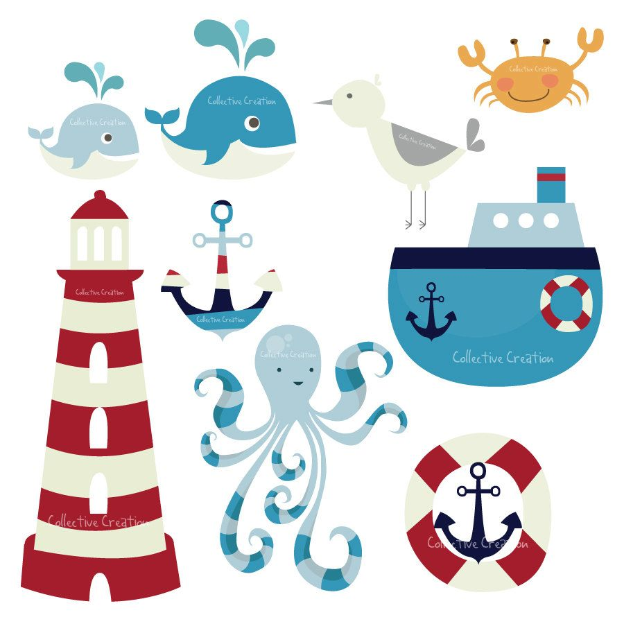 Nautical Themed Digital Clip Art Set by CollectiveCreation.