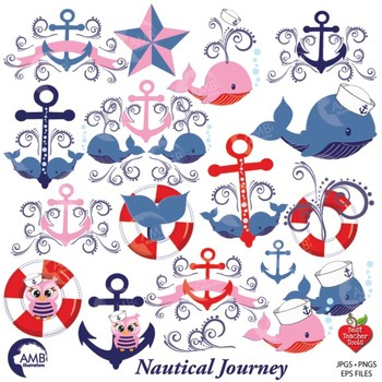 Nautical Clipart in Red and Blue, Sailing Clipart, Coastal Clip Art, AMB.