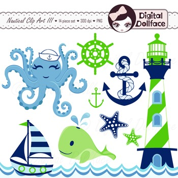 Blue and Green Nautical Clip Art, Whale, Octopus, Sea.
