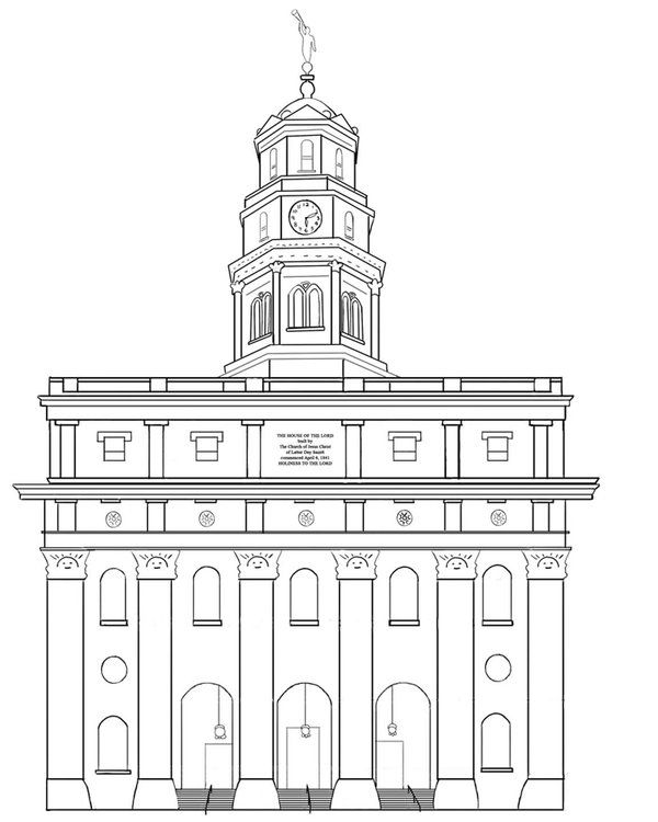 Nauvoo Temple Lineart by Liahona.