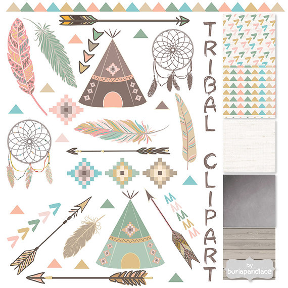 Tribal clipart and patterns, feathers, Teepee Tents, arrows.