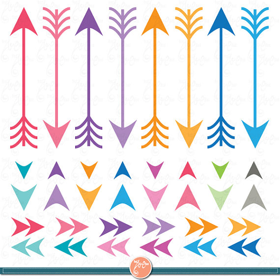 Digital Arrow clip art,Arrow Clipart,Navaho clipart,Rainbow arrows.