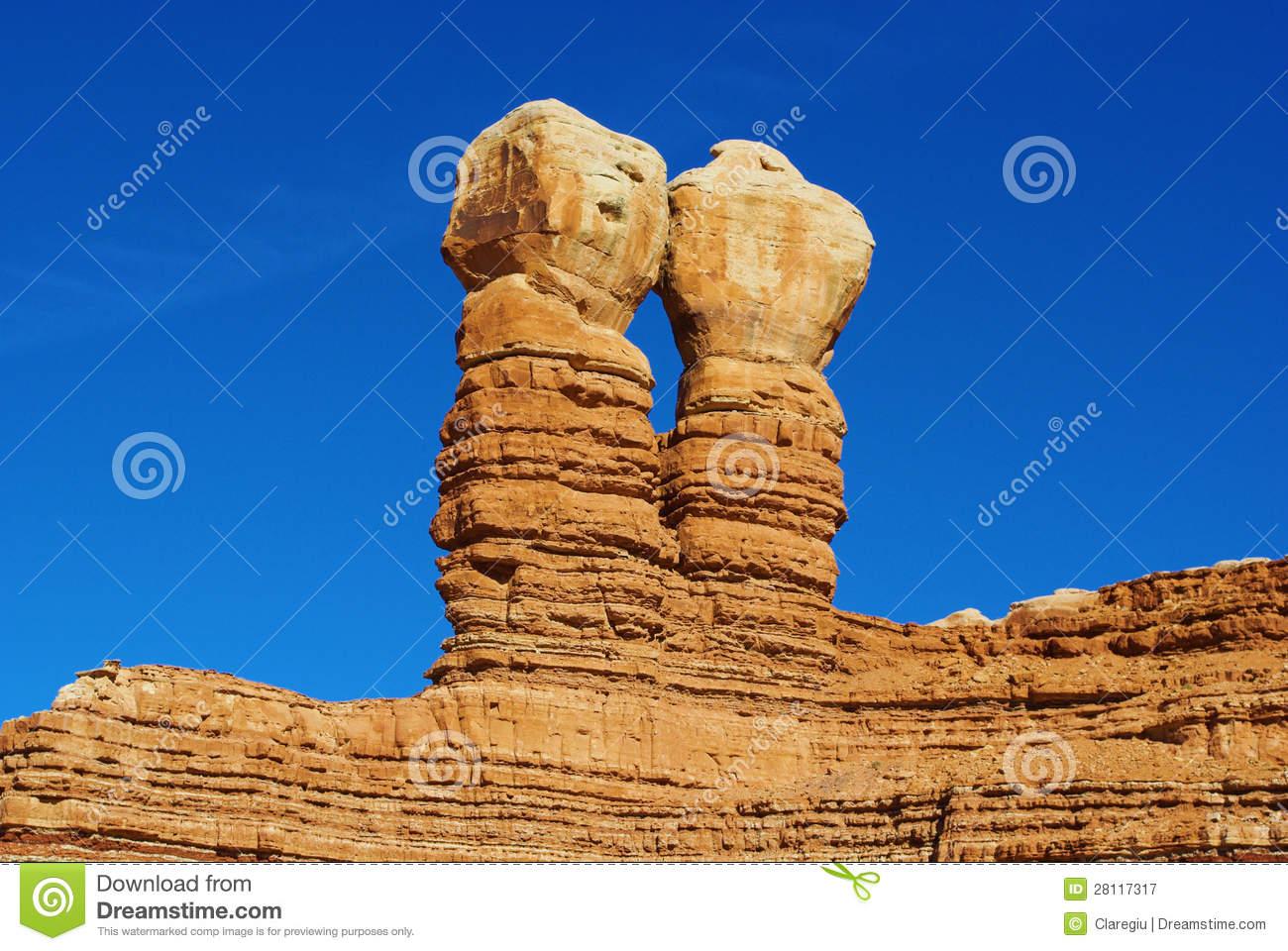 Navajo Twin Rocks, Bluff, Utah Royalty Free Stock Photography.