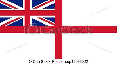Clip Art of Flag of the United Kingdom (White Ensign)..