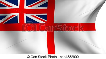 Stock Illustration of Naval ensign of UK flag against white.