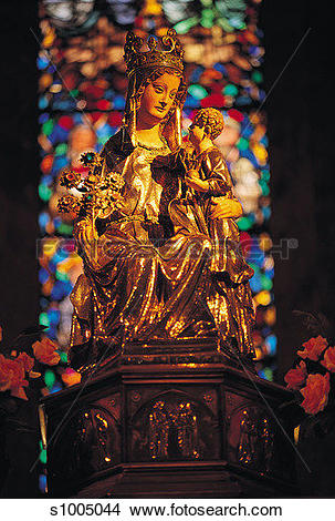 Stock Photo of Madonna and Child, Roncesvalles, Navarra, Spain.