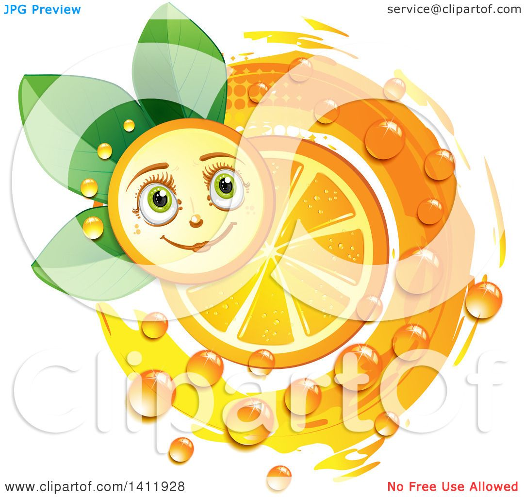 Clipart of a Navel Orange Character with a Slice, Drops and Leaves.