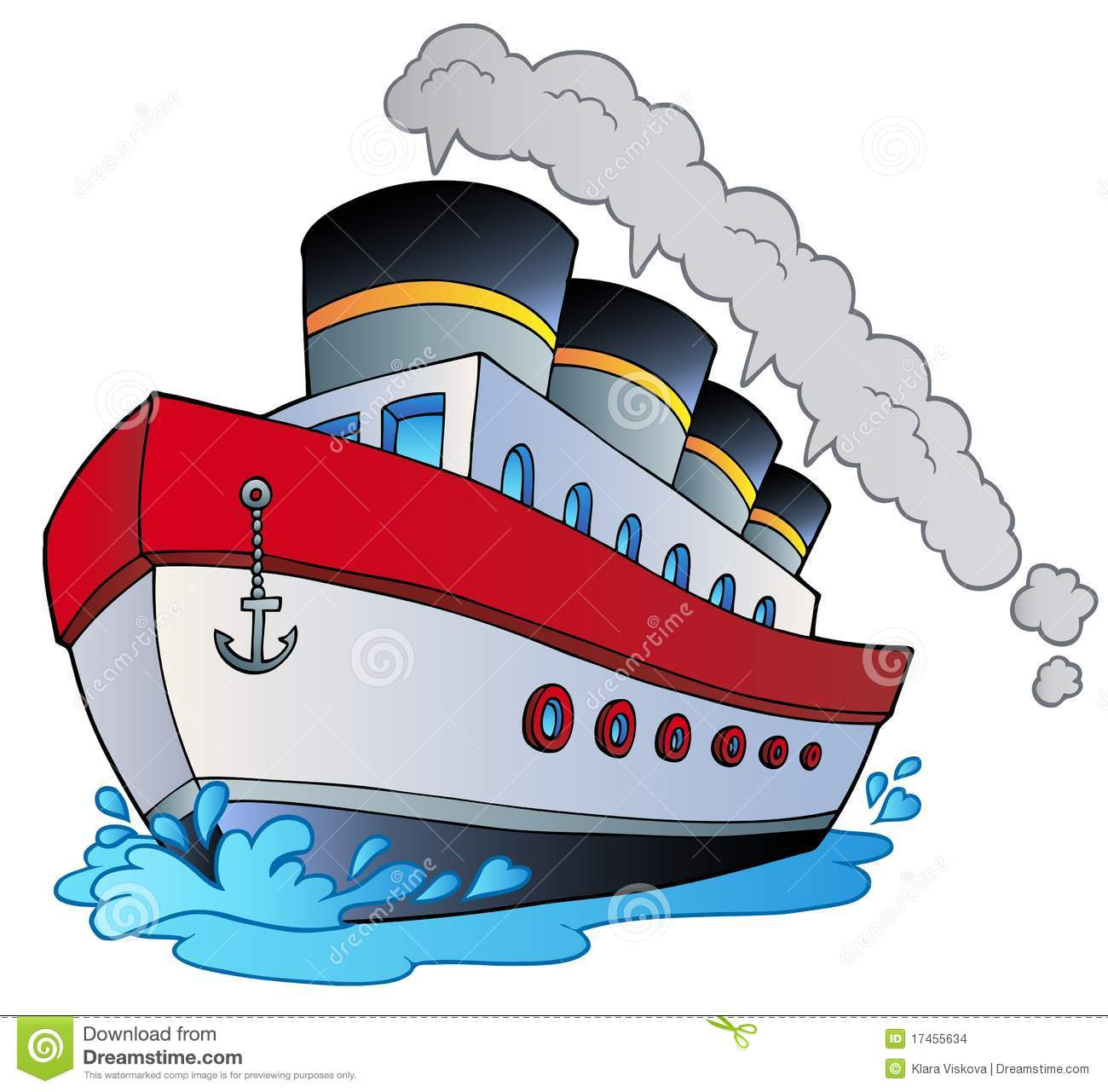 Big Cartoon Steamship Stock Images.