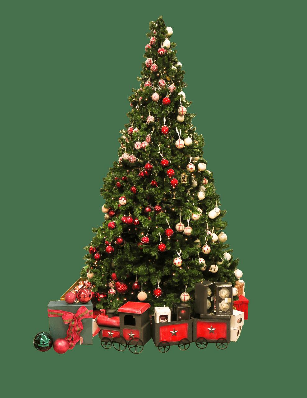 Árbol de Navidad y Regalos clipart PNG transparente.