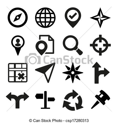 Vector Clip Art of Map, GPS and Navigation icons set. Vector.