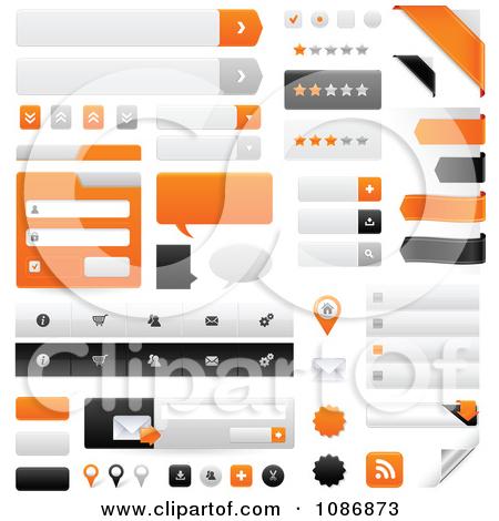 Clipart Orange Gray And Black Website Navigation Design Elements.