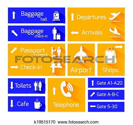Clipart of Airport Navigation Infographic Design Elements.
