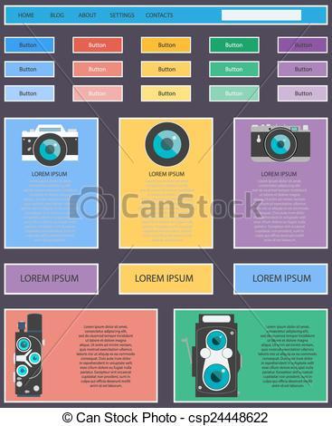Vector Illustration of Photo video camera and multimedia equipment.