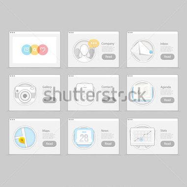 Infographics Elements Kit : Set of Colorful Flat UI Navigation.