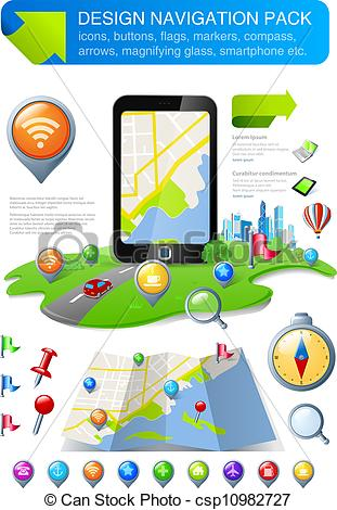 Vector Illustration of Navigation elements & icons kit.