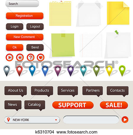 Clipart of GPS Navigation And Website Elements k6310704.