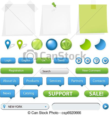 Clip Art Vector of GPS Navigation Elements And Blank Note Papers.