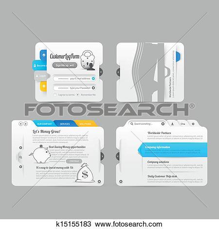 Clipart of Website template infographic design menu navigation.