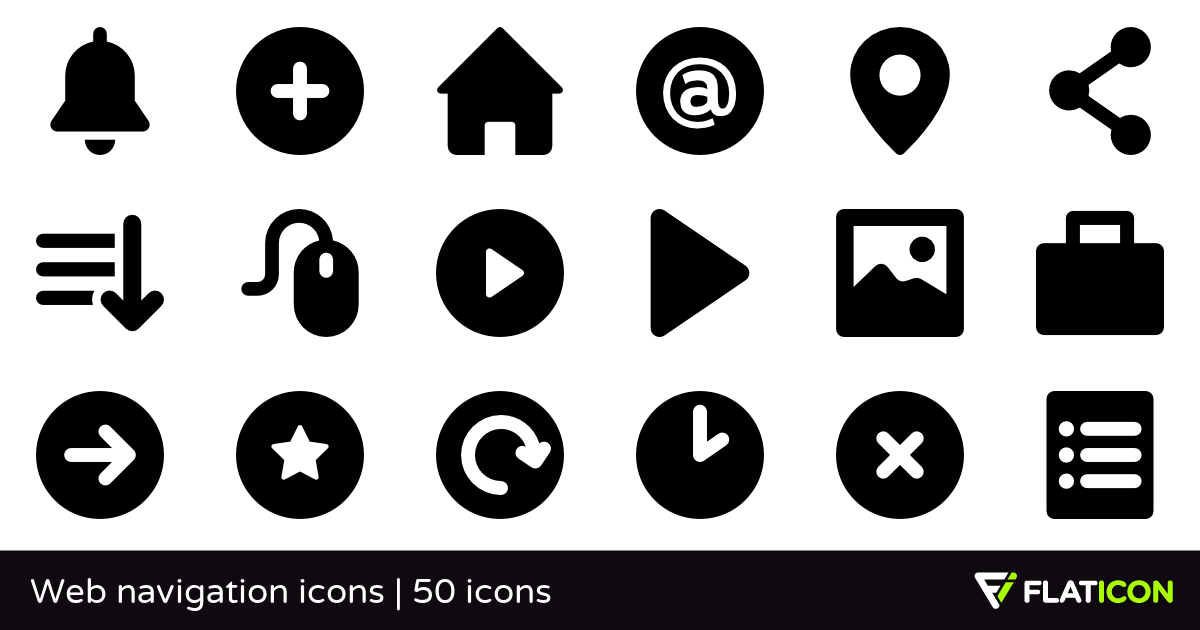 Web navigation icons 50 free icons (SVG, EPS, PSD, PNG files).