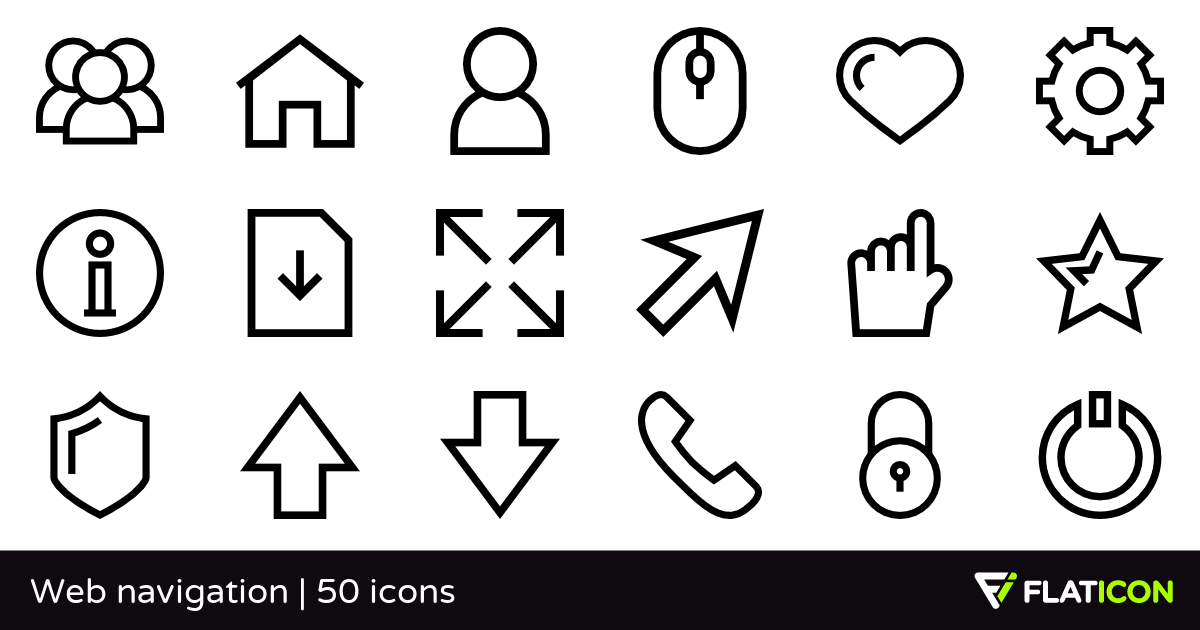 Web navigation 50 free icons (SVG, EPS, PSD, PNG files).