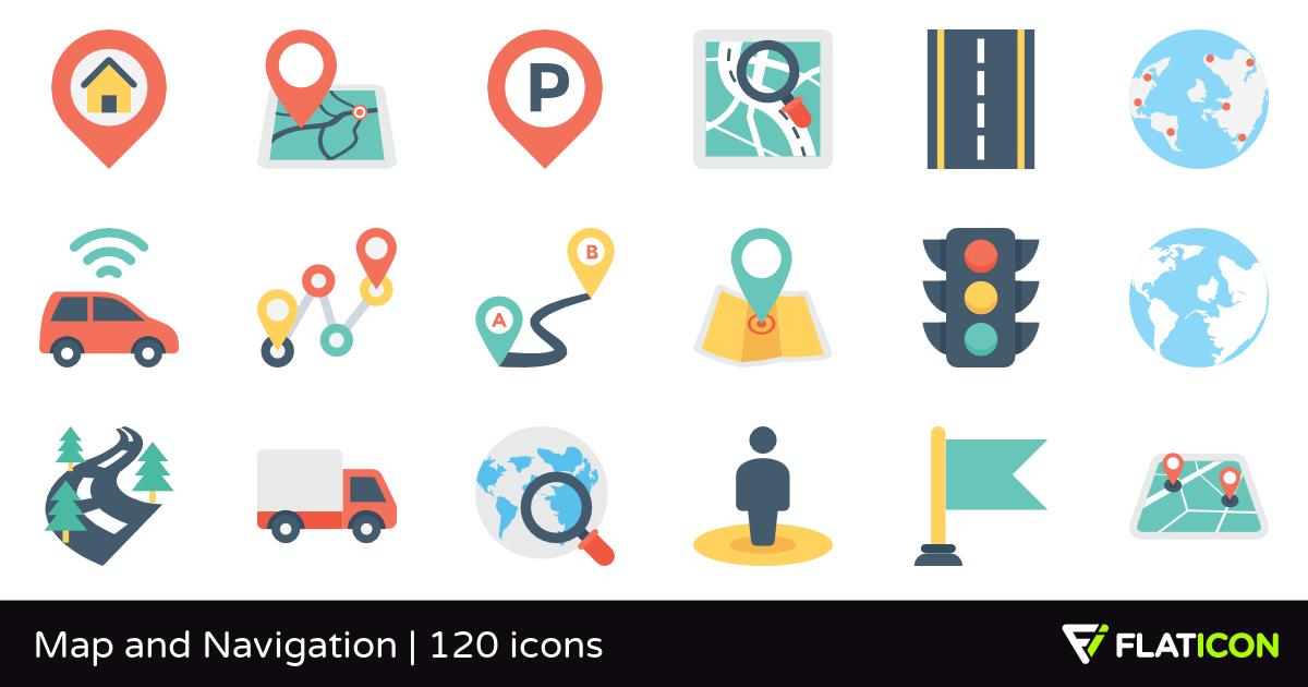 Map and Navigation 120 free icons (SVG, EPS, PSD, PNG files).