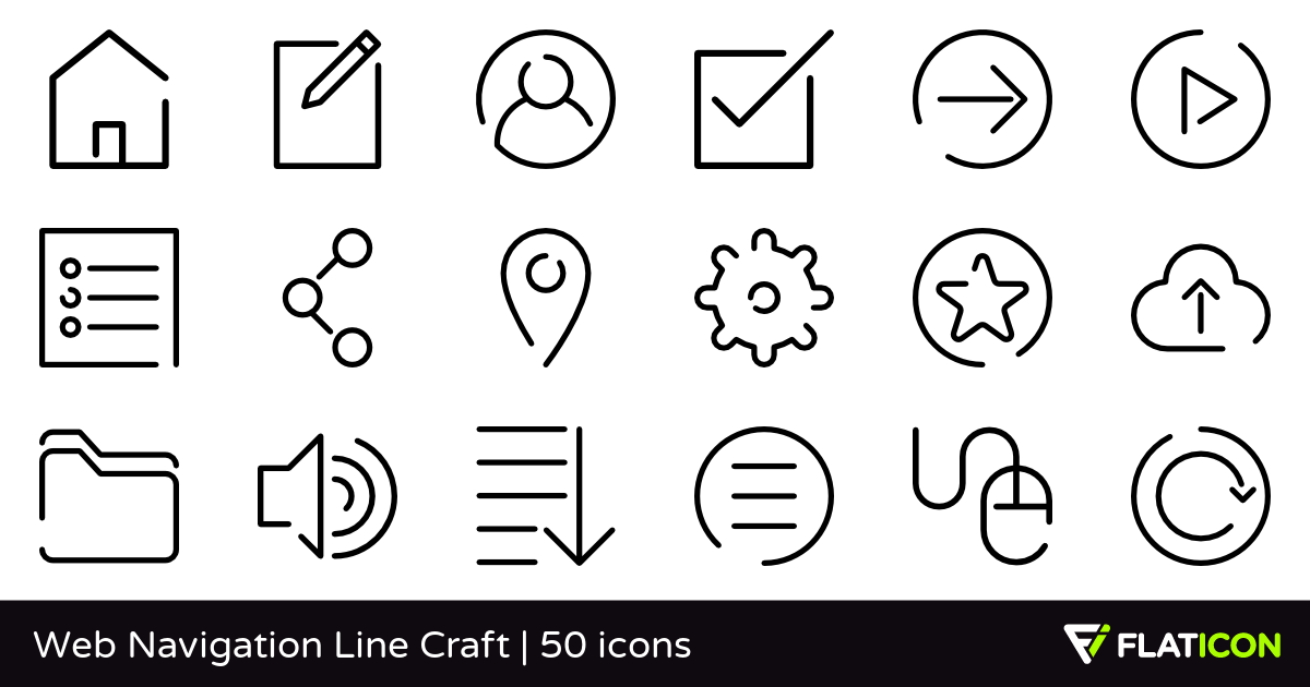 Web Navigation Line Craft 50 free icons (SVG, EPS, PSD, PNG.