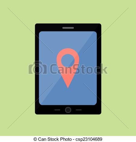 Vector of Flat style touch pad with pin pointer.