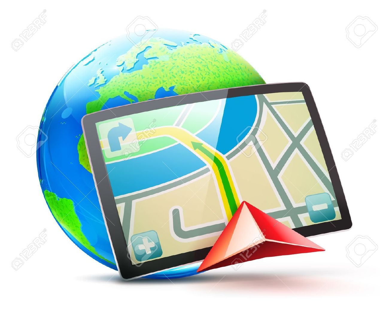 Illustration Of Global Positioning System Concept Royalty Free.