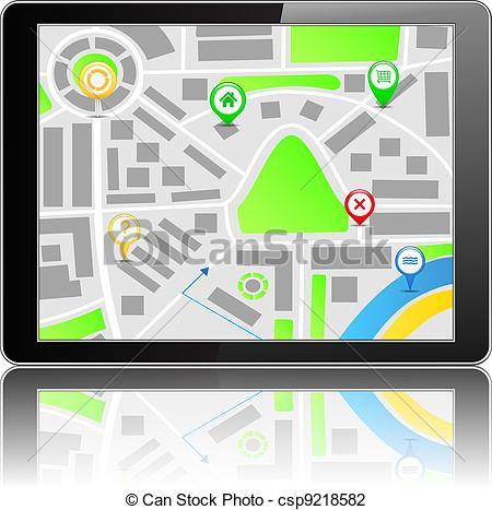 Vector Illustration of GPS Navigation System, vector eps10.