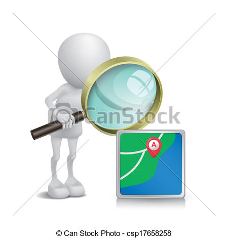 Clipart Vector of 3d person watching a navigator with a magnifying.