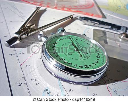 Stock Photographs of navigators equipment.