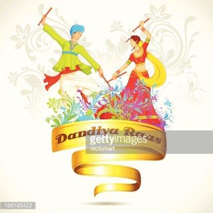 Couple playing Dandiya on Navratri Clipart Image.