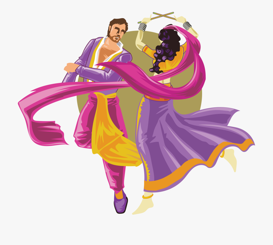 And Dance Dandiya Men Characters Between Raas Clipart.
