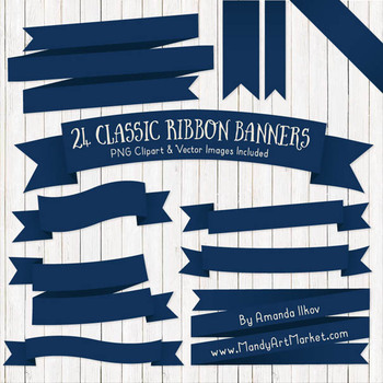 Classic Ribbon Banner Clipart in Navy.