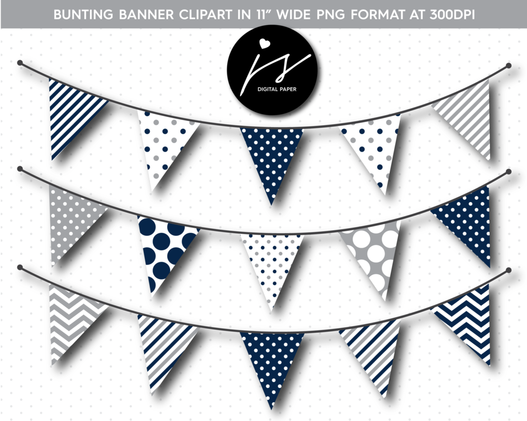 Navy blue and grey triangle bunting banner flag clipart, BU.