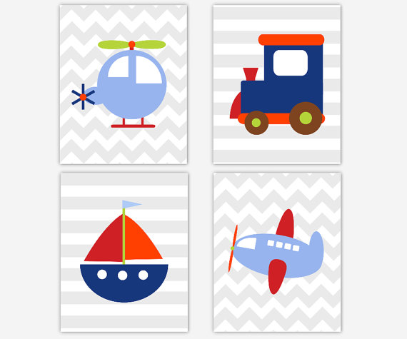 Baby Boy Nursery Canvas Art Navy Blue Red Gray Train Plane Car.