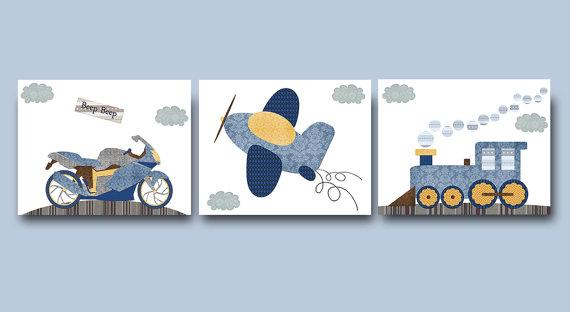 Yellow Navy Blue Gray Motorcycle Train Plane Canvas Wall Art.