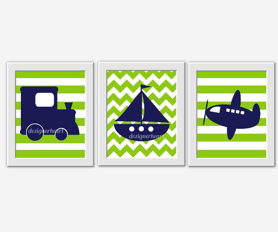 Baby Boy Nursery Artwork Navy Blue Lime Green Train Plane Boat.