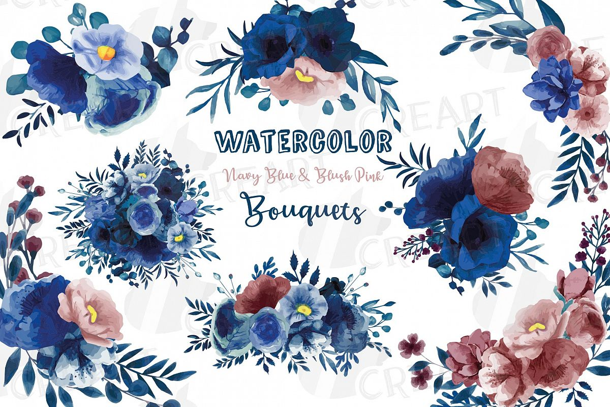 Navy blue and blush pink floral watercolor bouquets clip art.