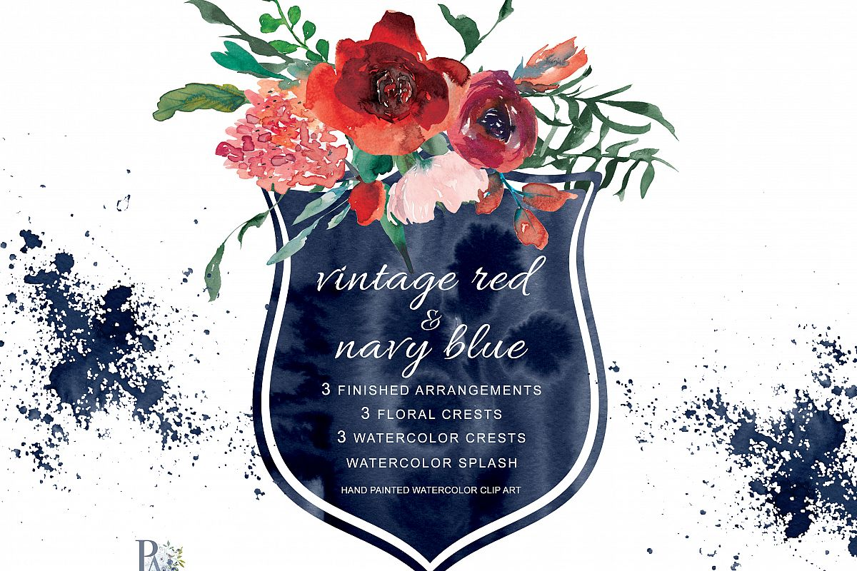 Watercolor Vintage Red & Navy Blue Flowers Clipart.