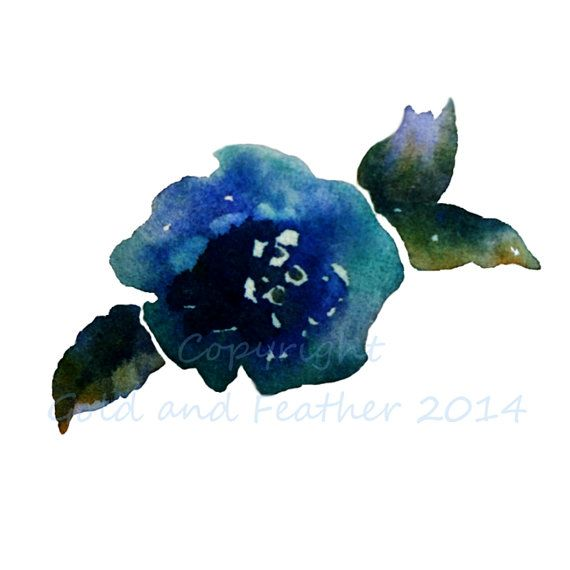 Dark Blue Flower Clip Art, Navy Blue Floral Image,Commercial.