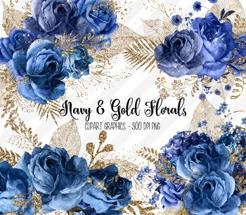 Navy Blue and Gold Glitter Floral Clipart, vintage.