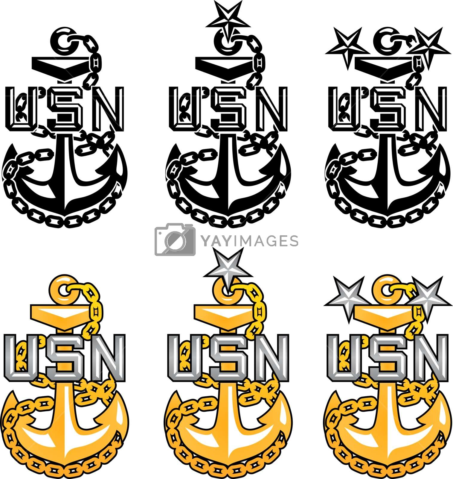 US Navy CPO Anchors Stock Image.
