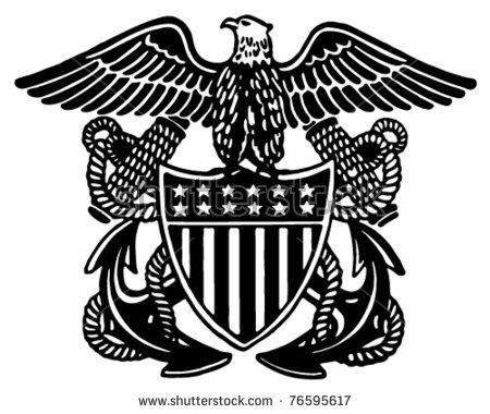 Navy Officer Crest Retro Ad Art Stock Vector 76595617.